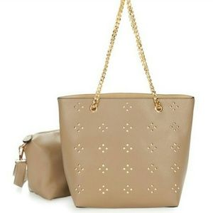 Studded Reversible Tote with Crossbody-Taupe color